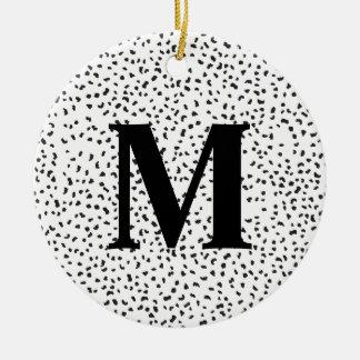 Taches dalmatiennes noires et blanches modernes ornement rond en céramique