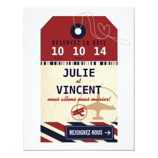 Tag Bagages de Voyage Réserver la Date Carton D'invitation 10,79 Cm X 13,97 Cm