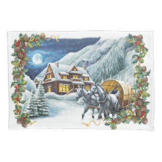 Taie d'oreiller de scène d'hiver de Noël (1 côté)