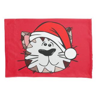Taie d'oreiller simple de chat de Père Noël,