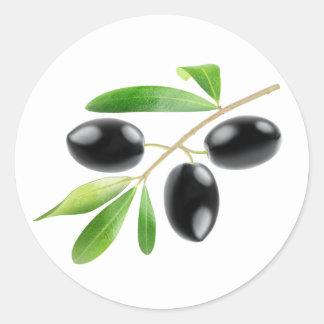 Tak met zwarte olijven ronde sticker