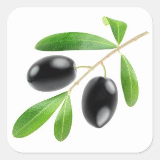 Tak met zwarte olijven vierkante sticker