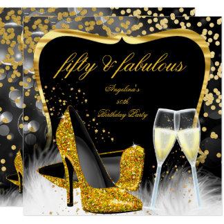 Talon haut noir fabuleux de Champagne d'or de 50 Carton D'invitation 13,33 Cm