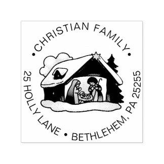 Tampon Auto-encreur Adresse de retour de Noël de famille religieuse de