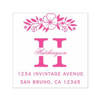 Tampon Auto-encreur Fleurs roses et adresse de retour de monogramme de