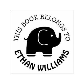 Tampon Auto-encreur Le timbre d'éléphant de bébé ce livre appartient à