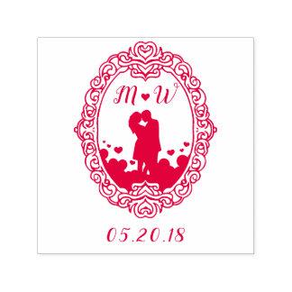 Tampon Auto-encreur Mariage rouge de silhouette de couples de coeur et