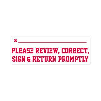"""Tampon Auto-encreur """"Svp passez en revue, correct, signe et retournez"""