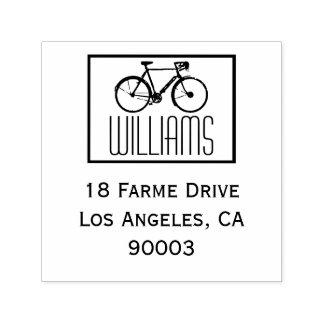Tampon Auto-encreur un vélo avec l'adresse nommée et de retour, carré