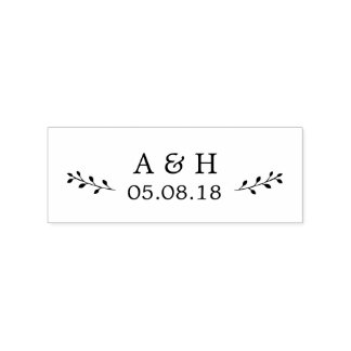 Tampon en caoutchouc botanique de monogramme de