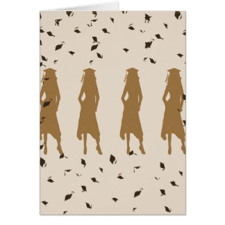 Tan et silhouettes de fille de diplômé d'or carte de vœux