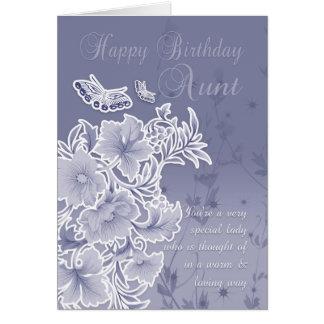 Tante, carte d'anniversaire avec des fleurs et