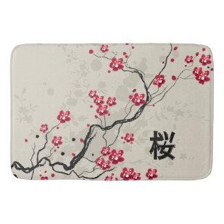 Tapis De Bain Art oriental de fleurs de cerisier de Sakura de