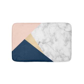 Tapis De Bain bloc bleu de couleur de pêche de marbre blanche