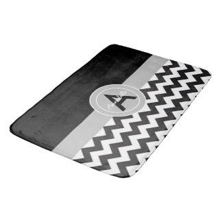 Tapis De Bain Chevron gris noir
