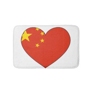 Tapis De Bain Coeur de drapeau de la Chine
