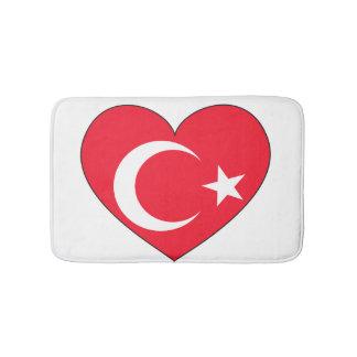 Tapis De Bain Coeur de drapeau de la Turquie