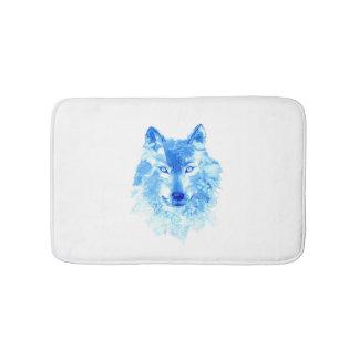 Tapis de bain de loup d'hiver d'aquarelle
