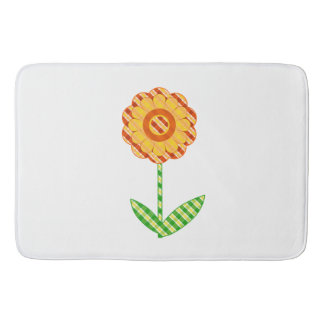 Tapis de bain floral lunatique orange et jaune