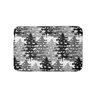 Tapis De Bain Hiver gris rustique de pins de forêt de région