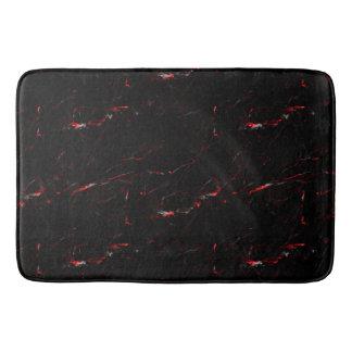 Tapis de Bain Marbre Noir/Rouge