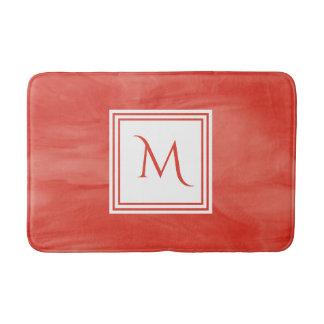 Tapis De Bain Monogramme moderne de marbre subtil orange rouge
