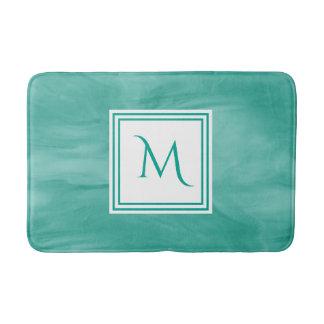 Tapis De Bain Monogramme moderne de marbre subtil vert turquoise