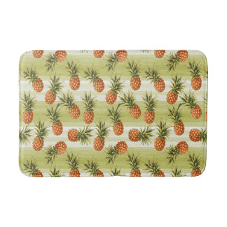 Tapis De Bain Motif tropical orange vert de fruit d'ananas