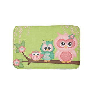 Colorful Cute Owl Hoot Pink Baby Birds on Branches