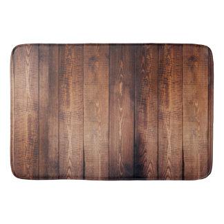 Tapis De Bain Planches foncées rustiques en bois de grange