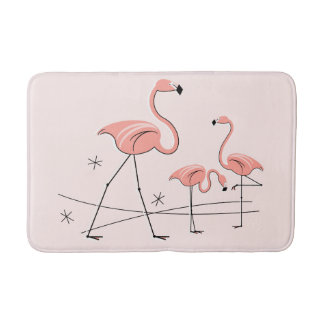 Tapis de bain rose du trio 2 de flamants