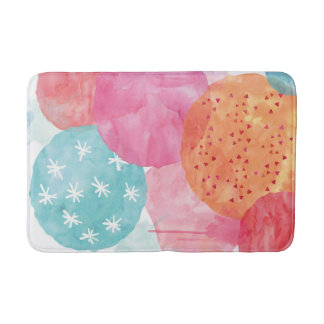 Tapis de bain rose et orange d'aquarelle abstraite