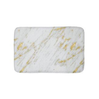 Tapis De Bain Scintillement blanc moderne de marbre et d'or