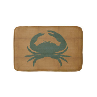 Tapis De Bain Tan rustique avec le crabe vert-foncé
