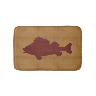 Tapis De Bain Tan rustique avec les poissons rouge foncé