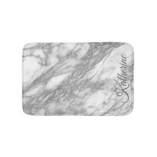 Tapis De Bain Texture de marbre argentée moderne avec votre nom