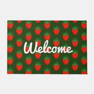 Tapis de porte de fraise avec le texte d'accueil