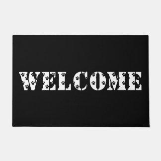 Tapis de porte noir et blanc à la maison bienvenu