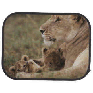 Tapis De Sol Lion de mère se reposant avec des petits animaux