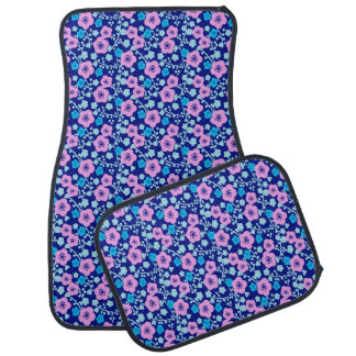 Tapis De Sol Prune japonaise riche de motif floral bleu et rose