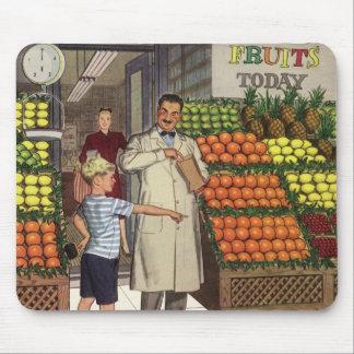 Tapis De Souris Affaires vintages, support de fruit avec l'épicier