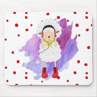 Tapis De Souris Agneau de fille de hippie avec les bottes rouges