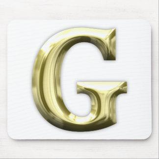 Tapis De Souris Alphabet brillant d'or d'or de la lettre G
