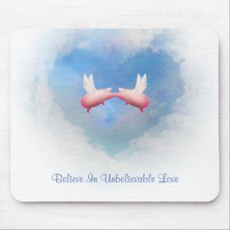 Tapis De Souris Amour Baiser-Incroyable Mousepad de porcs de vol