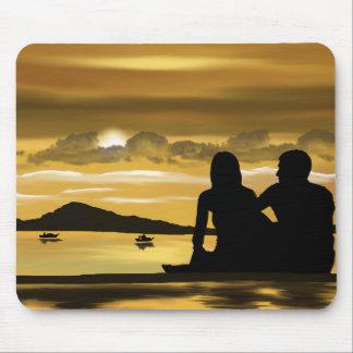 Tapis De Souris Amour, coucher du soleil romantique sur la plage