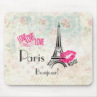Tapis De Souris Amour Paris avec Tour Eiffel sur le motif vintage