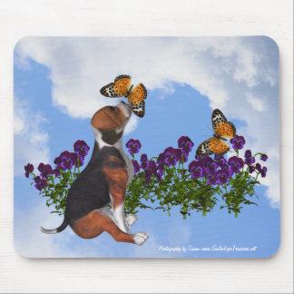 Tapis De Souris Animal Mousepad de pensées de papillons de chiot