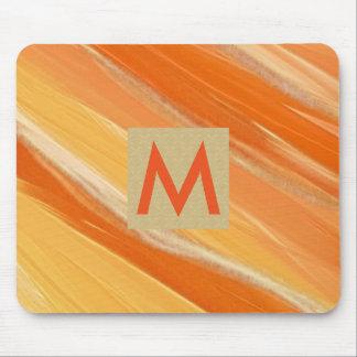 Tapis De Souris Aquarelle orange chic élégante initiale de