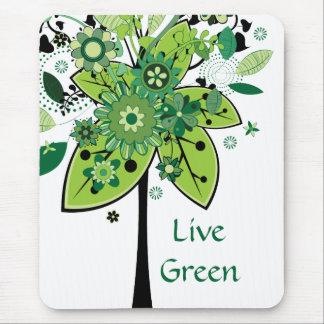 Tapis De Souris Arbre abstrait vert