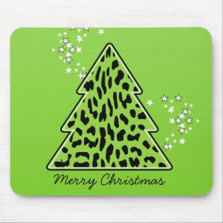 Tapis De Souris Arbre de Noël de guépard de léopard Mousepad
